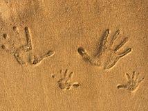 Sabbia e stampa Fotografia Stock