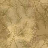 Sabbia senza cuciture del cammuffamento del modello del ramo del pino illustrazione vettoriale