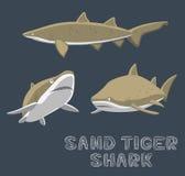 Sabbia Tiger Shark Cartoon Vector Illustration Immagini Stock Libere da Diritti