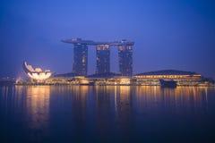 Sabbie della baia del porticciolo, SINGAPORE 12 ottobre 2015: vista della baia del porticciolo Immagini Stock Libere da Diritti