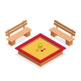 Sabbiera isometrica con i giocattoli ed i banchi Icona all'aperto di vettore della mobilia illustrazione di stock