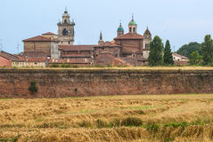 Sabbioneta (Mantua). Sabbioneta (Mantua, Lombardy, Italy) - View of the historic city, of Renaissance era, with walls Royalty Free Stock Photography