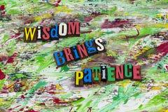 A sabedoria traz a benevolência da paciência fotos de stock royalty free