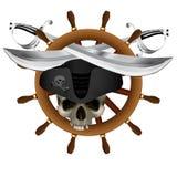 Sabel för hjul för Jolly Roger Pirate skepp` s stock illustrationer