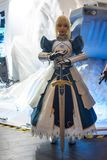 Saber cosplayer at Sony Expo 2019 royalty free stock photo