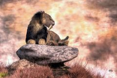 Saber Tooth on a Rock royalty free illustration