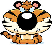 Saber-Toothed Tiger Angry. A cartoon saber-toothed tiger cub with an angry expression vector illustration