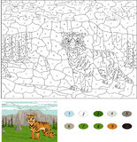 Saber-toothed tiger. Color by number educational game for kids. Illustration for schoolchild and preschool Royalty Free Stock Images
