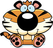 Saber-Toothed Tiger Sitting. A cartoon illustration of a saber-toothed tiger cub sitting and smiling Royalty Free Stock Photo