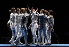 Saber World Fencing Tournament. Women's national teams of France and Russia compete at the 2010 RFF Moscow Saber World Fencing Tournament in Moscow, Russia royalty free stock image