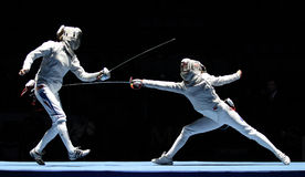 Saber World Fencing Tournament. Women's national teams of France and Russia compete at the 2010 RFF Moscow Saber World Fencing Tournament in Moscow, Russia stock photography