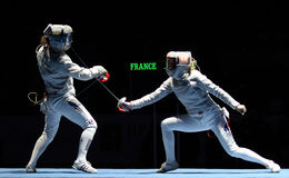 Saber World Fencing Tournament Stock Photo