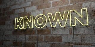 SABIDO - Sinal de néon de incandescência na parede da alvenaria - 3D rendeu a ilustração conservada em estoque livre dos direitos ilustração stock