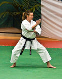 Sabina Varsallona. Was Gold Medal of Karate at World Championships of wuko in Valencia 2007. In this shot she's performing her kata during Italian Championship royalty free stock photo