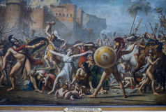 Sabine Women door Jacques-Louis David - Louvre stock afbeelding