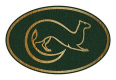 Sable animal vector image. Fur animal emblem or label. Gold silhouette on green background. Royalty Free Stock Image