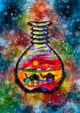 Sable Art Souvenir Watercolor Illustration de Dubaï Photos libres de droits
