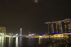 Sable de baie de marina de paysage urbain de Singapour image libre de droits