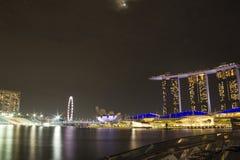 Sable de baie de marina de paysage urbain de Singapour photographie stock