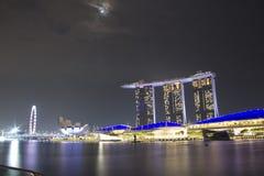 Sable de baie de marina de paysage urbain de Singapour photographie stock libre de droits