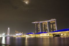 Sable de baie de marina de paysage urbain de Singapour photos stock