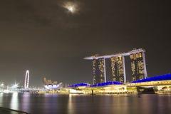 Sable de baie de marina de paysage urbain de Singapour images stock
