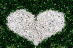 Sable de cadre d'herbe verte dans la forme de coeur Images stock