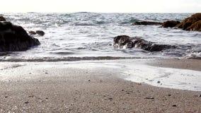 Sable de plage d'océan de vague d'eau banque de vidéos