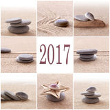 2017, sable de zen et carte de voeux de pierres Photographie stock libre de droits