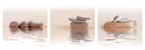 Sable de zen et triptyque de pierre photos libres de droits
