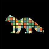 Sable marten mink mammal color silhouette animal Stock Photography