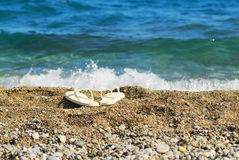 Sable, mer bleue et chaussons blancs Photo stock