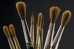 Sable Paint Brushes. With a black background Stock Photos