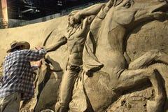 Sable sculptant, ruée de Calgary, le 11 juillet 2011 Photos stock