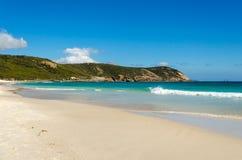 Sables blancs de plage de Squeky, Wilson Promontory Photo libre de droits