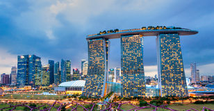 Sables de baie de marina, Singapour, photographie stock libre de droits