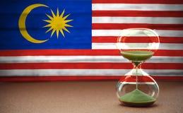 Sablier sur le fond du drapeau de la Malaisie, le concept du temps et les pays, l'espace pour le texte illustration stock