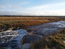 Sablinsky waterfalls in the bright light of November royalty free stock photo