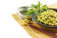 Sabor revestido do wasabi dos amendoins Foto de Stock Royalty Free