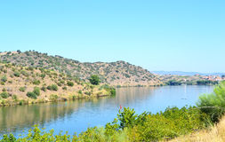 Sabor River in Douro hills Royalty Free Stock Image