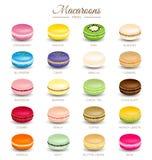 Sabores coloridos de los macarrones Imágenes de archivo libres de regalías