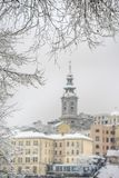 Saborna Crkva, Beograd, Srbija. Church of St. Michael and surrounding architecture, Belgrade, Serbia, in background blurry bokeh, during very cold, winter, day stock photo