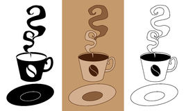 Saboroso e saboroso do café no copo com ilustração ajustada EPS10 do vetor do ícone liso dos pires Foto de Stock Royalty Free