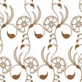 Sabot sans couture avec les fleurs et les feuilles brunes Image libre de droits