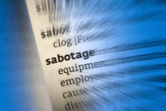 Sabotage. An act of sabotage is to deliberately destroy, damage, or obstruct (something), especially for political or military advantage Stock Photos