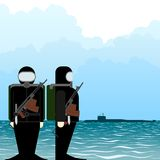 Saboteur submarine Royalty Free Stock Images
