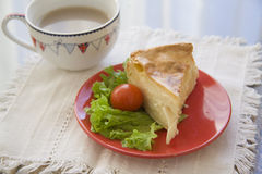 Saburani pie with coffee Royalty Free Stock Photo