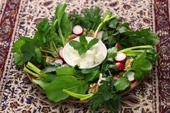 Sabzi khordan, iranian cuisine. Sabzi khordan, assortment of fresh herbs and raw vegetables salad, iranian cuisine Stock Photo
