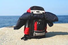 Sac à dos à la plage Image stock