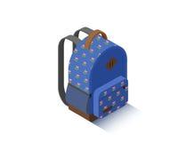 Sac à dos bleu isométrique d'école de vecteur Photo stock